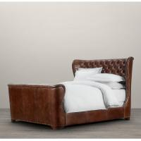 China Provincial Style Elegant Churchill Upholstered King Leather Bed With Footboard wholesale
