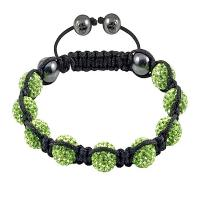 China 10mm Grass Green Crystal Beads With Black Rope OEM / ODM Crystal Bangle Bracelets wholesale