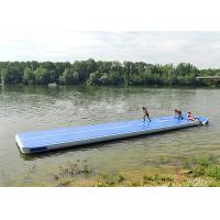 China Long Blue Smooth Rubber Air Tight Yoga Mat , Floating Inflatable Air Track For Water on sale