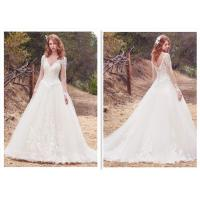 China Long Sleeve White Organza Ball Gown BVridal Dress Lace Wedding Dress wholesale