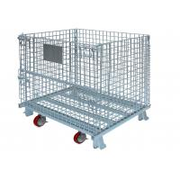 China High Strength Collapsible Wire Container With Casters Set Metal Mesh Storage Bin wholesale