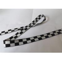 Quality 2 Cm Polyester Soft Jacquard Printed Elastic Ribbon Black And White Grid for sale