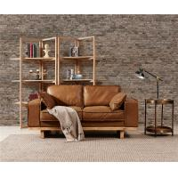 Light Brown Sectional 2 Seater Leather Sofa Hand Work Craft American Vintage Style