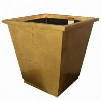 China Square-shaped Flower Pot, Made of Fiberglass, Planter with Golden Leaf Finish wholesale