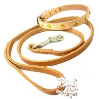 China soft leather dog leash for small dogs with collar wholesale