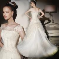 China Thin lace ladies square neckline wedding dress / Cap Sleeve wedding dresses with long trains wholesale
