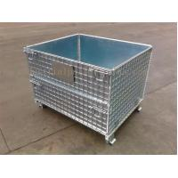 China Space Saving Warehouse Equipments Wire Container Storage Cages With Blue Plastic Board wholesale