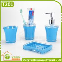 Buy cheap Blue Black Red Green Top Selling Plastic Bathroom Set For Hotel Bathroom product