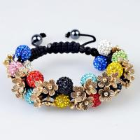 China High quality colorful CZ crystal & alloy flower 10mm Shamballa Crystal Bangle Bracelets wholesale