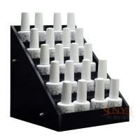 China Acrylic 5 Tier Nail Polish Counter Display Black MDF OEM Logo Printing wholesale