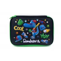 China PU Surface Boys Hard Pencil Case With Zipper Velvet Inner Material , 224*160*45mm wholesale