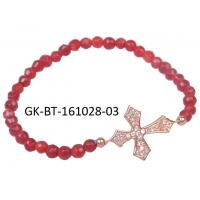 Quality Elegant designs and excellent finishing agate beads bracelet, cross silver for sale