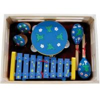 Quality Kawai Kids Musical Instrument With Wooden Box Outfit Four Pcs Simple Percussion Toy for sale