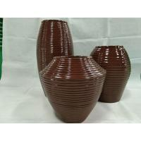 China 2019 new itemsof fiberglass planter  stripe planter  flower pot sets factory directly all colors wholesale