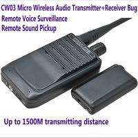 Quality CW03 Micro Wireless Audio Transmitter+Receiver Listening Bug 500M Remote Sound Monitor for sale