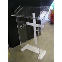 China Custom Made Modern Acrylic Furniture Clear Lectern With White Cross wholesale