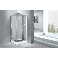 China Square 900 X 900 Bathroom Shower Cabins White ABS Tray Chrome Profiles wholesale