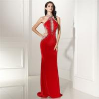 Buy cheap Red Color Short Sleeve High End Velvet Prom Dress Evening Gowns Long Style Trailing Floor from wholesalers