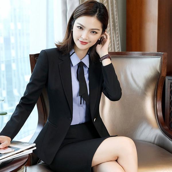 Quality Regular Women 'S Business Suit Skirt Custom 90% Polyester Blended Cotton Long Sleeve for sale