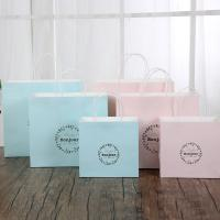 China Light Blue / Pink Personalized Paper Gift Bags 150gsm White Kraft Paper Material wholesale