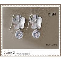 China 100% 925 sterling silver plated with rhodium gemstone earrings with white zircon W-AS972 wholesale