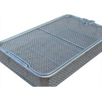 China 304 Stainless Steel Wire Mesh Medical Disinfection Basket 40cm x 25cm x 7cm Size wholesale
