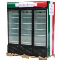 China 3 Doors Upright Commercial Display Freezer -25°C Fan Cooling With Automatic Defrost wholesale