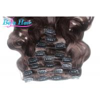 China 100% Unprocessed Body Wave Clip In Human Hair Purple / Wine Red Hair Extensions wholesale