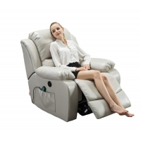 China adjustable recliner padded seat black PU leather 8 point heated massage function fabric recliner chair on sale