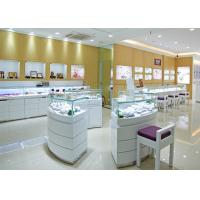 Quality Retail Shop Lighted Commercial Jewelry Wall Display Case High Glossy White Color for sale