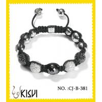 China Plating with Rhodium / gold Alloy + Crystal + Hematite 10mm Crystal Beaded Bracelet wholesale