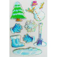 China Fancy Custom Hologram Stickers For Windows / Cars Winter Snowman Design wholesale