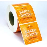 China Custom Glossy Sticker Labels Roll , Black Round Vinyl Label Stickers For Food wholesale