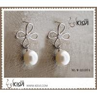 China 2012 hot selling 925 sterling silver gemstone earring with immitation pearl W-AS1074 wholesale