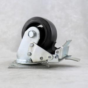 China 4 Inch Locking Caster Wheels Cast Iron Core Plate Rigid 6 inch Black Tread Color on sale