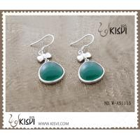 China New fashion dangle silver gemstone earrings with green agate W-AS1115 wholesale