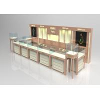 China Wooden Glass Beige Color Jewellery Shop Display Cabinets , Jewelry Display Plinths wholesale