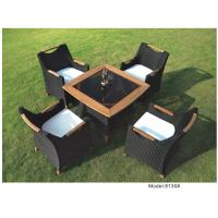 China 5-piece poly rattan wicker teak handrail hotel dining set outdoor furniture -8130 wholesale
