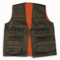 China Safety Vest with Zipper and Button, Made of Polyester and Cotton wholesale
