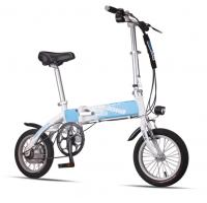 China Blue Foldable Electric Bike Adult City Electric Push Bike With Li - Ion Battery wholesale