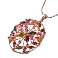 China Elegant designs and excellent finishing crystal silver gemstone pendant K-BC-C876 wholesale