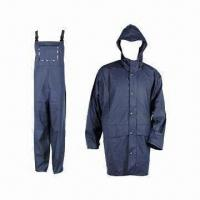 China Adult PU Raincoat, 5000mm WP, Made of 50% PU and 50% Polyester wholesale