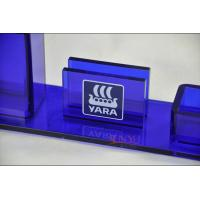 Quality Table Top Brochure Stands Custom Blue Plastic Office Supplies Pen Holder for sale