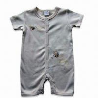 China Babies' Overall, Short Sleeves, Made of Organic Cotton Interlock 190gsm Material, 3 to 24mm Size on sale