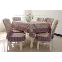 China Custom cheap pastoral cotton tablecloth with plaid border and chair cover set, on sale