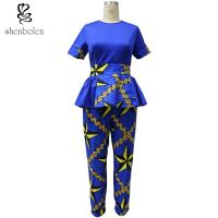 China Ankara Fabric African Print Pants With Kitenge Style Short Sleeve Tops wholesale
