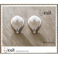 China Elegant & unique fashion design cute silver gemstone earring with imitation pearl W-AS1221 wholesale