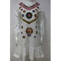 China Long Sleeve Embroidery Floral Dress For Spring / Autumn 100 Percent Cotton wholesale