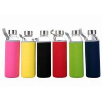 Quality 16 Oz Fancy Unbreakable Glass Water Bottle With Stainless Steel Cap for sale