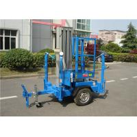 China Vertical Trailer Mounted Man Lift , Single Mast Trailer Boom Lift For Window Cleaning wholesale